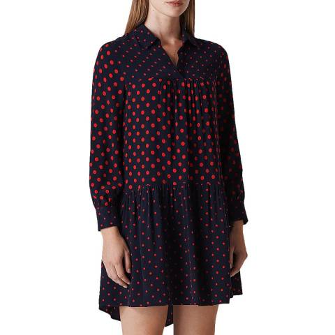 WHISTLES Navy/Multi Molly Spot Dress