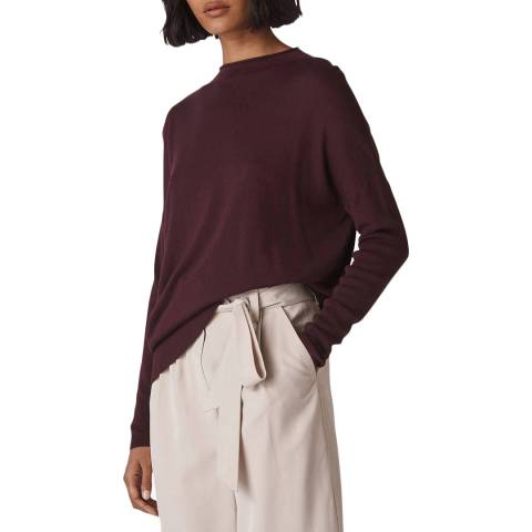 WHISTLES Burgundy Relaxed Jumper