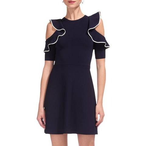 WHISTLES Navy Frill Knit Dress