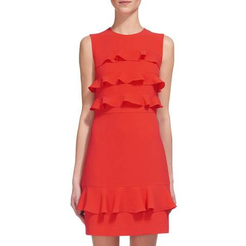 WHISTLES Coral Bea Frill Front Dress