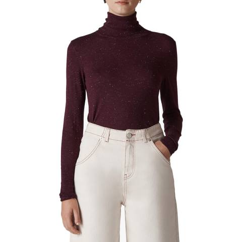 WHISTLES Deep Red Sparkle Polo Neck Jumper