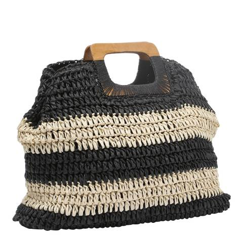 Laycuna London Black / Natural Stripe Woven Wood Handle Tote Bag