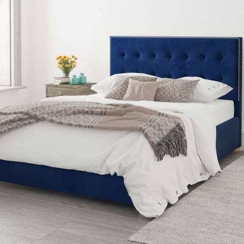 Aspire Furniture Monument Velvet Ottoman Bed - Navy - Double (4'6)
