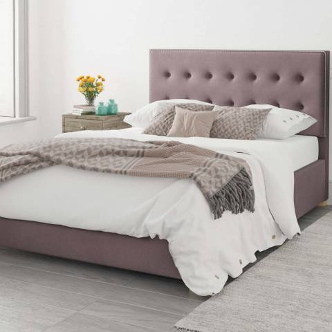 Aspire Furniture Monument Velvet Ottoman Bed - Blush - Kingsize (5')