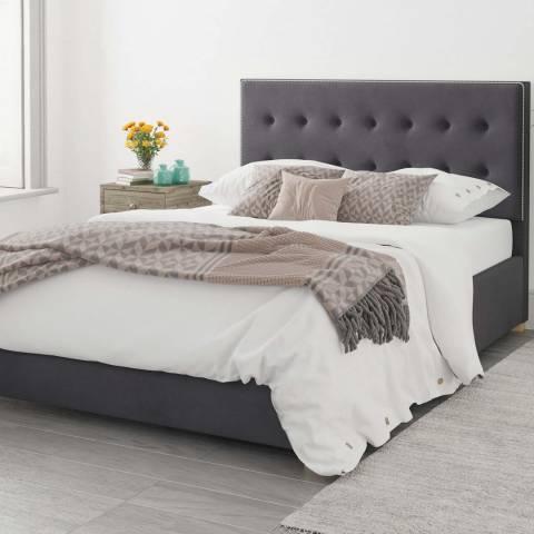 Aspire Furniture Monument Velvet Ottoman Bed - Steel - Kingsize (5')