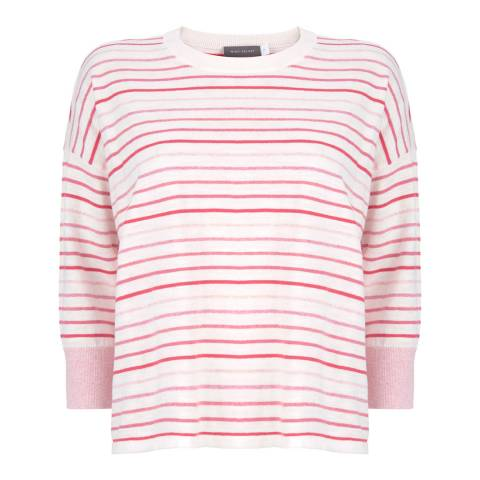 Mint Velvet Ivory/Pink Cotton Blend Striped Jumper