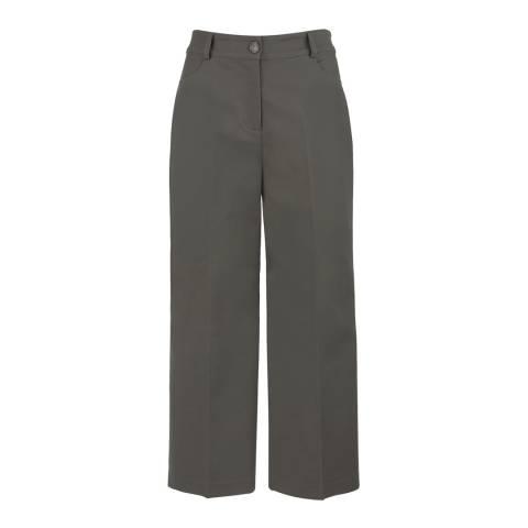 Mint Velvet Khaki Cropped Wide Leg Trousers