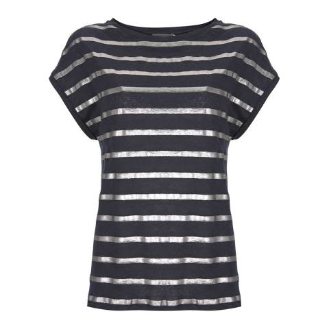 Mint Velvet Navy Foil Striped Linen T-Shirt