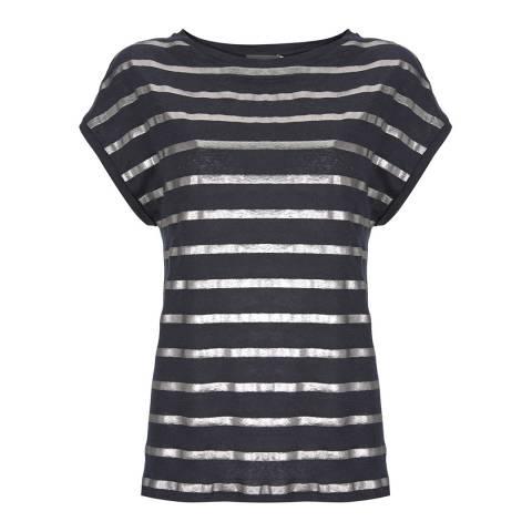 Mint Velvet Navy Foil Striped Linen T-Shirt
