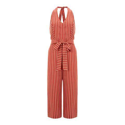 Mint Velvet Rust Striped Belted Jumpsuit