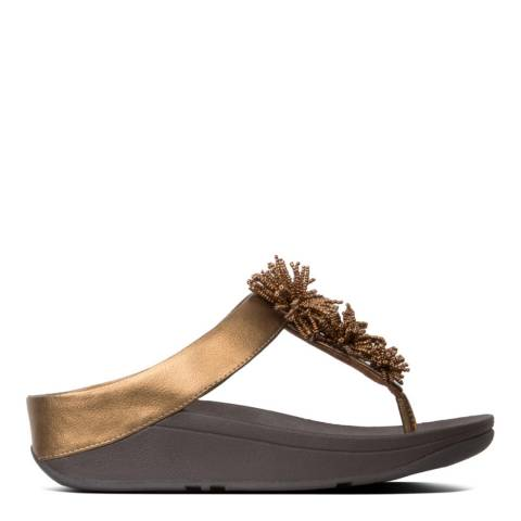 FitFlop Gold Fino Bead Pompom Toe Thong