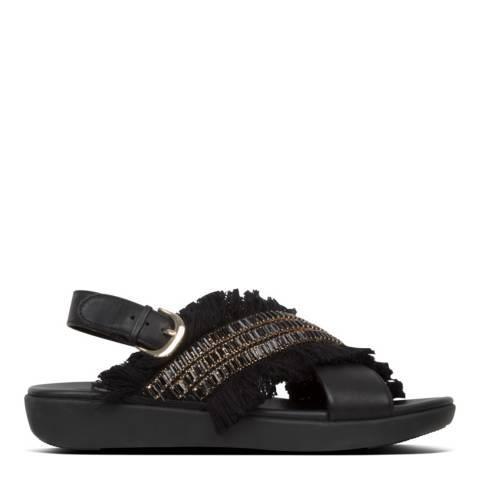FitFlop Black Lexi Crystalstone Fringe Sandal