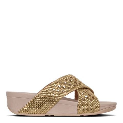 FitFlop Gold Lulu Wicker Slide Sandal