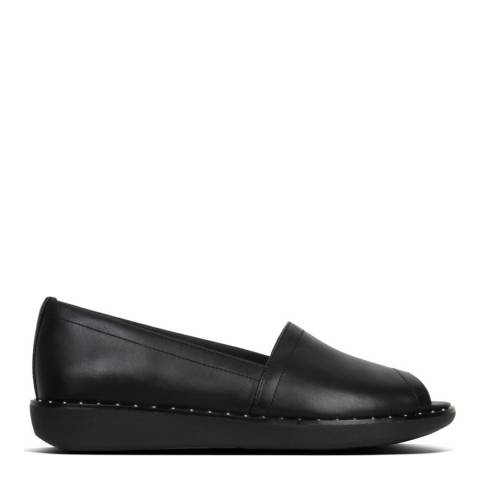 FitFlop Black Nadia Peep Toe Leather Loafer