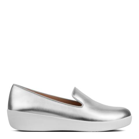 FitFlop Silver Audrey Metallic Smoking Loafer