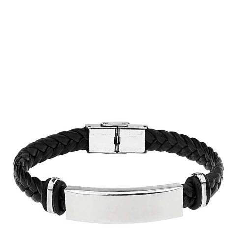 Stephen Oliver Silver Plated Black Leather ID Bracelet