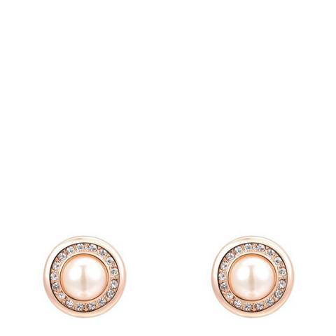 Ma Petite Amie Round Pearl Earrings with Swarovski Crystals