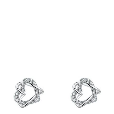 Ma Petite Amie Silver Twisted Earrings with Swarovski Crystals
