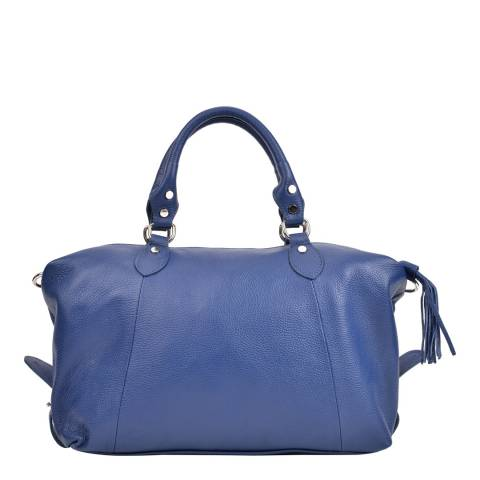 Mangotti Blue Leather Top Handle Bag