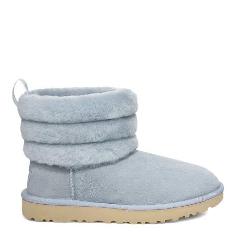 UGG Blue Classic Fluff Mini Quilted Logo Boot