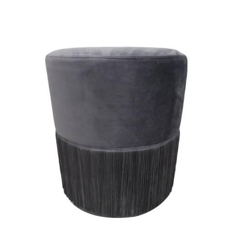 Native Home & Lifestyle Grey Round Tassels Stool 38x43cm