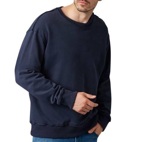 7 For All Mankind Navy Cotton Raw Edge Sweatshirt