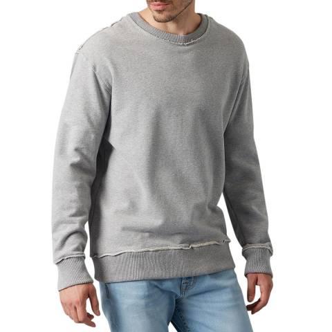 7 For All Mankind Grey Cotton Raw Edge Sweatshirt