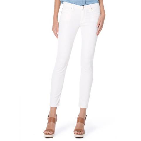 7 For All Mankind White Skinny Crop Riche Stretch Sateen Jeans