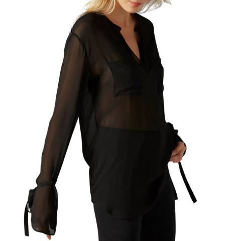 7 For All Mankind Black Silk Blouse