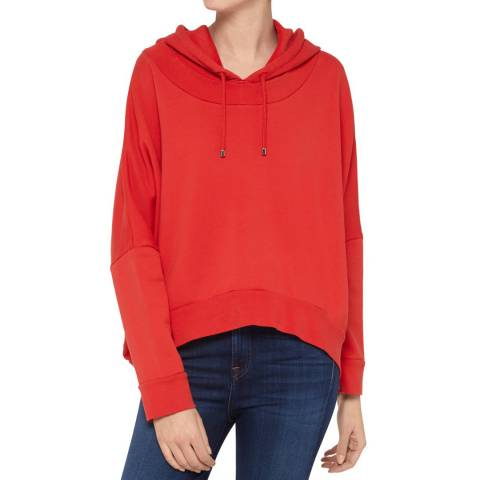 7 For All Mankind Red Oversized Cropped Hoodie