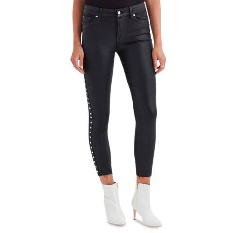 7 For All Mankind Black Coated Skinny Stretch Side Stud Jeans