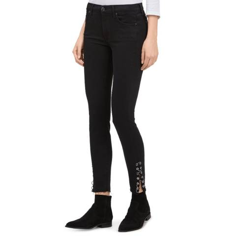 7 For All Mankind Black The Skinny Cropped Stretch Jeans