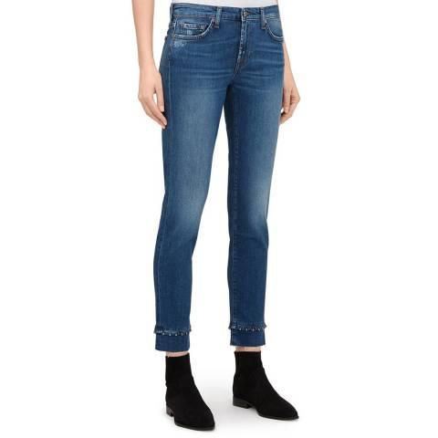 7 For All Mankind Blue Pyper Crop Studded Hem Jeans