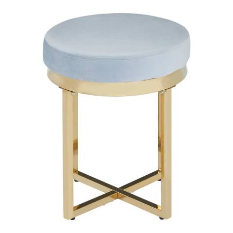 Fifty Five South Allure Round Stool, Grey Velvet, Gold Finish Stainless Steel
