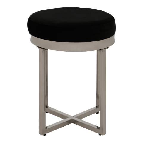 Fifty Five South Allure Round Stool, Black Velvet, Silver Finish Stainless Steel