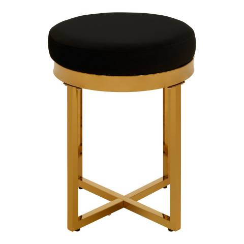 Fifty Five South Allure Round Stool, Black Velvet, Gold Finish Stainless Steel