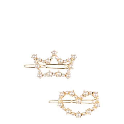 White label by Liv Oliver Multi Gold Plated Crown & Heart Barrettes Set of 2