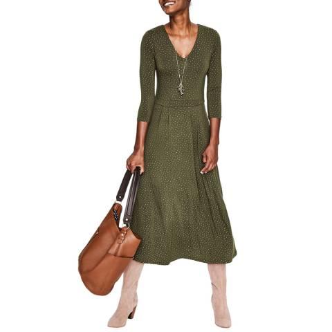Boden Khaki Coraline Jersey Midi Dress