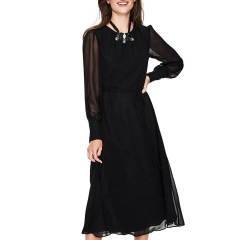 Boden Black Alba Midi Dress