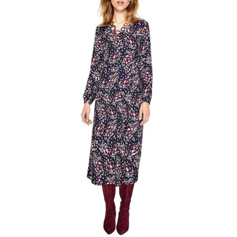 Boden Navy Floral Easy Midi Dress