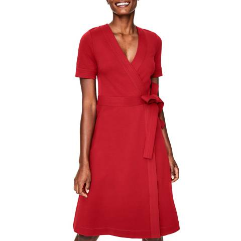 Boden Red Mira Ponte Wrap Dress
