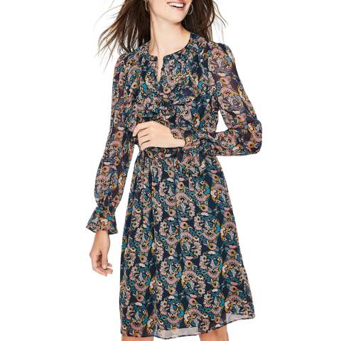 Boden Navy Printed Amalie Dress