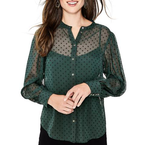 Boden Green Lyra Blouson Sleeve Shirt