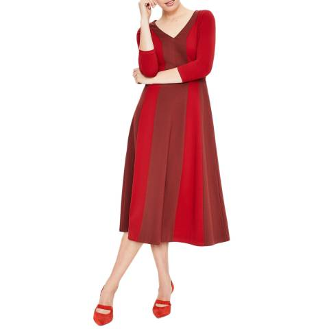 Boden Red Erin Ponte Midi Dress