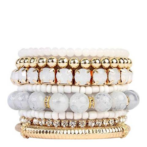 Liv Oliver 18K Gold Plated Multi White Bead & Crystal Bracelet Set