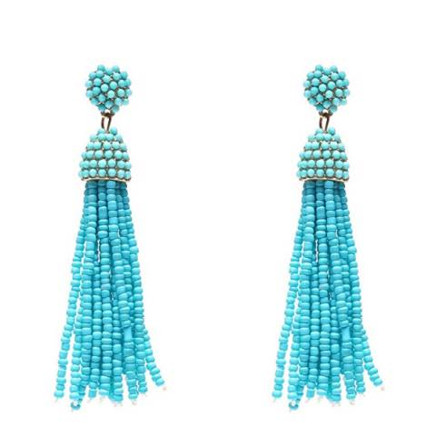 Liv Oliver 18K Gold Plated Turquoise Bead Tassle Statement Earrings