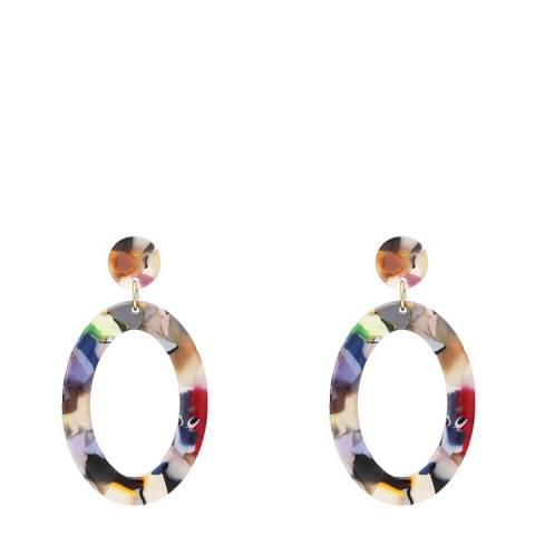 Liv Oliver Multi Colour Shell Boho Statement Oval Earrings