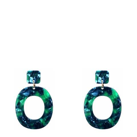 Liv Oliver Green Shell Boho Statement Earrings