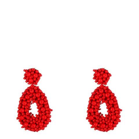 Liv Oliver Red Multi Bead Boho Statement Earrings