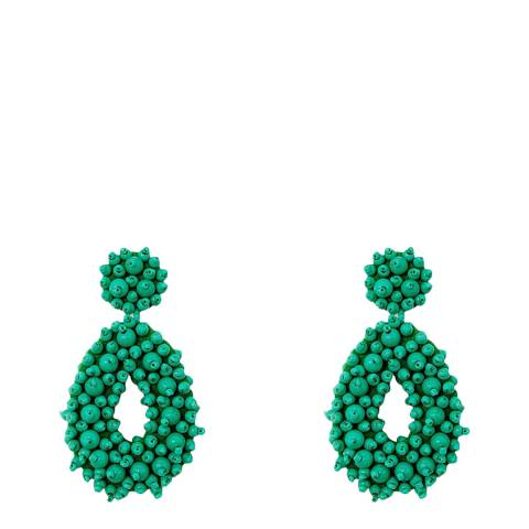 Liv Oliver Turquoise Bead Boho Statement Earrings